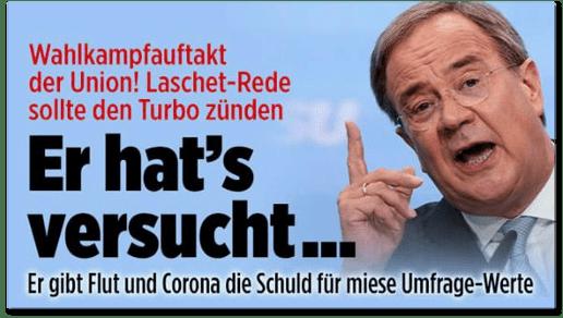 Screenshot Bild.de - Wahlkampfauftakt der Union! Laschet-Rede sollte den Turbo zünden - Er hat's versucht ... - Er gibt Flut und Corona die Schuld für miese Umfrage-Werte
