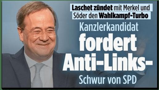 Screenshot Bild.de - Laschet zündet mit Merkel und Söder den Wahlkampf-Turbo - Kanzlerkandidat fordert Anti-Links-Schwur von SPD