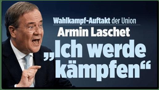 Screenshot Bild.de - Wahlkampf-Auftakt der Union - Armin Laschet - Ich werde kämpfen