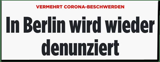 Screenshot Bild.de - Vermehrt Corona-Beschwerden - In Berlin wird wieder denunziert