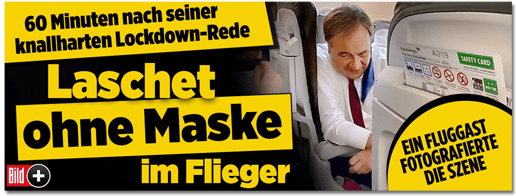 Screenshot Bild.de - 60 Minuten nach seiner knallharten Lockdown-Rede - Lascher ohne Maske im Flieger - ein Fluggast fotografierte die Szene