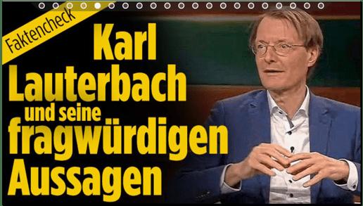 Screenshot Bild.de - Faktencheck - Karl Lauterbach und seine fragwürdigen Aussagen