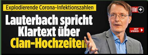 Screenshot Bild.de - Explodierende Corona-Infektionszahlen - Lauterbach spricht Klartext über Clan-Hochzeiten