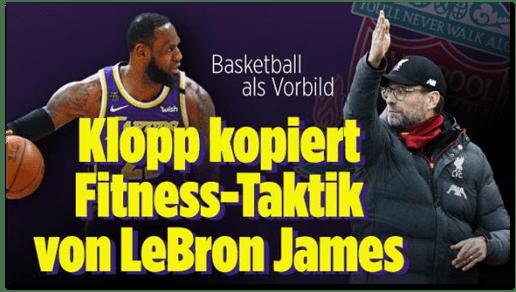 Screenshot Bild.de - Basketball als Vorbild - Klopp kopiert Fitness-Taktik von LeBron James