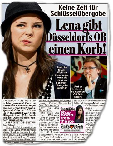Keine Zeit für Schlüsselübergabe: Lena gibt Düsseldorfs OB einen Korb!