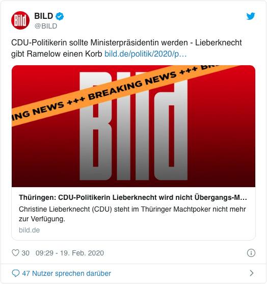 Screenshot eines Tweets der Bild-Redaktion - CDU-Politikerin sollte Ministerpräsidentin werden - Lieberknecht gibt Ramelow einen Korb