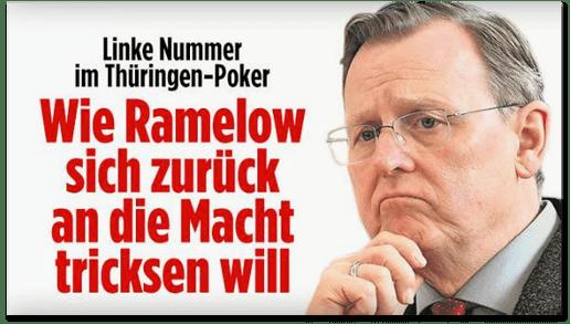 Screenshot Bild.de - Linke Nummer im Thüringen-Poker - Wie Ramelow sich zurück an die Macht tricksen will