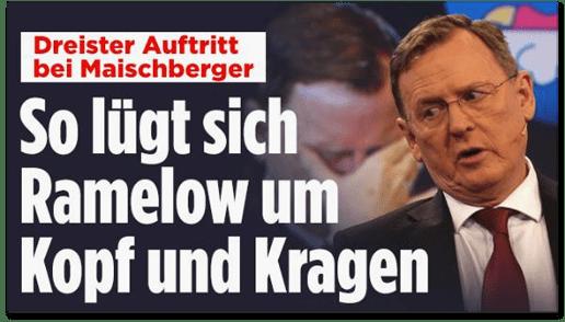 Screenshot Bild.de - Dreister Auftritt bei Maischberger - So lügt sich Ramelow um Kopf und Kragen