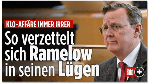 Screenshot Bild.de - Klo-Affäre immer irrer - So verzettelt sich Ramelow in seinen Lügen