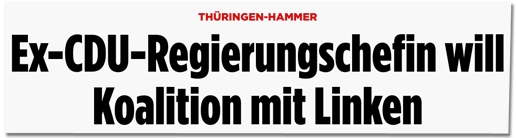 Screenshot Bild.de - Thüringen-Hammer - Ex-CDU-Regierungschefin will Koalition mit Linken