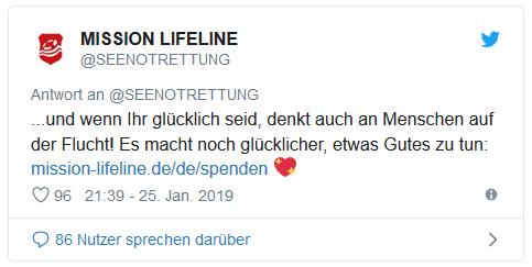 Screenshot eines weiteren Tweets von Seenotrettung - und wenn Ihr glücklich seid, denkt auch an Menschen auf der Flucht! Es macht noch glücklicher, etwas Gutes zu tun