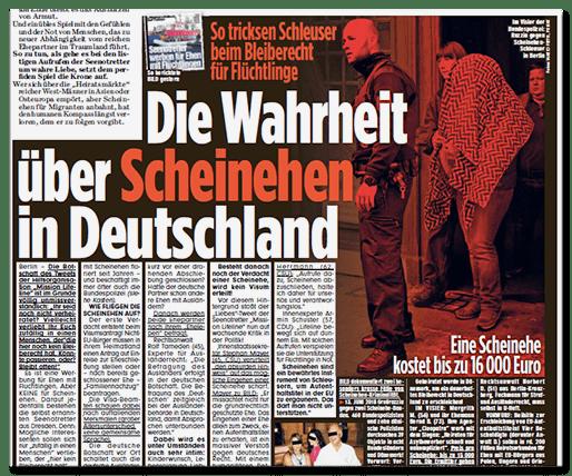 Ausriss Bild-Zeitung - Die Wahrheit über Scheinehen in Deutschland