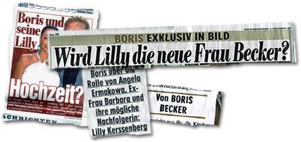 """""""Boris und seine Lilly: Hochzeit? -- Boris exklusiv in BILD: Wird Lilly die neue Frau Becker? Boris über (...) Ex-Frau Barbara und ihre mögliche Nachfolgerin: Lilly Kerssenberg"""""""