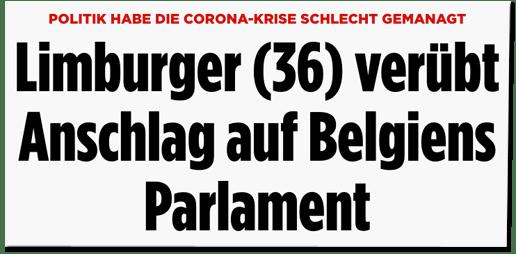 Screenshot Bild.de - Politik habe die Corona-Krise schlecht gemanagt - Limburger (36) verübt Anschlag auf Belgiens Parlament
