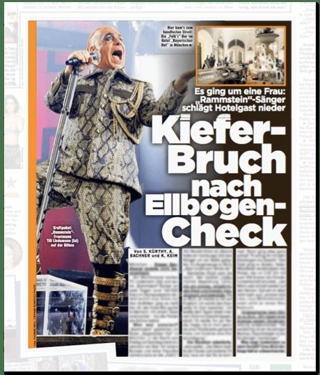 Ausriss Bild-Zeitung - Es ging um eine Frau: Rammstein-Sänger schlägt Hotelgast nieder - Kieferbruch nach Ellbogencheck