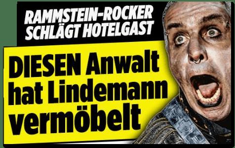 Screenshot Bild.de - Rammstein-Rocker schlägt Hotelgast - Diesen Anwalt hat Lindemann vermöbelt