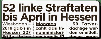 Ausriss Bild-Zeitung - 52 linke Straftaten bis April in Hessen
