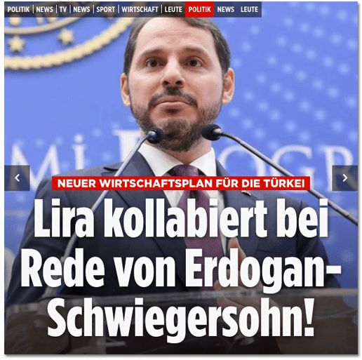 Screenshot Bild.de - Neuer Wirtschaftsplan für die Türkei - Lira kollabiert bei Rede von Erdogan-Schwiegersohn!