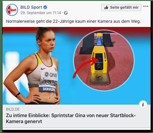 Screenshot eines Facebookposts der Bild-Sportredaktion - Normalerweise geht die 22-Jährige kaum einer Kamera aus dem Weg