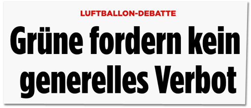 Screenshot Bild.de - Luftballon-Debatte - Grüne fordern kein generelles Verbot