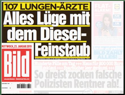 Ausriss Bild-Titelseite - 107 Lungen-Ärzte - Alles Lüge mit dem Diesel-Feinstaub