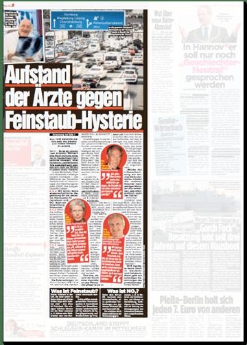 Ausriss Bild-Zeitung - Aufstand der Ärzte gegen Feinstaub-Hysterie
