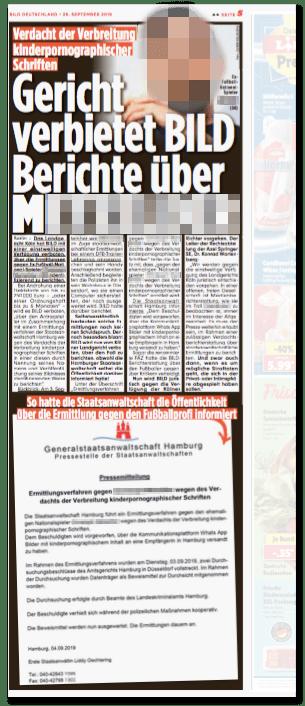 Ausriss Bild-Zeitung - Verdacht der Verbreitung kinderpornographischer Schriften - Gericht verbietet Bild Berichte über M.