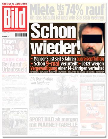 Ausriss Bild-Titelseite - Schon wieder! Mansor S. ist seit fünf Jahren ausreisepflichtig - Schon neunmal verurteilt - Jetzt wegen Vergewaltigung einer 14-Jährigen verhaftet