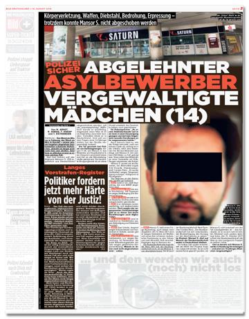 Ausriss Bild-Zeitung - Polizei sicher - Abgelehnter Asylbewerber vergewaltigte Mädchen (14)