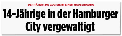 Screenshot Bild.de - Der Täter (30) zog sie in einen Hauseingang - 14-Jährige in der Hamburger City vergewaltigt