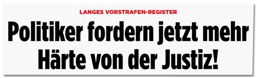 Screenshot Bild.de - Langes Vorstrafen-Register - Politiker fordern jetzt mehr Härte von der Justiz!