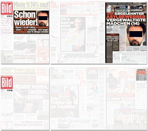 Collage mit den Bild-Seiten zum Fall vom 14. August und vom 18. August