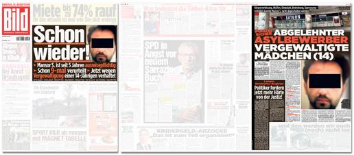 Ausriss Bild-Zeitung - Schlagzeile Titelseite: Schon wieder! Mansor S. ist seit fünf Jahren ausreisepflichtig - Schon neunmal verurteilt - Jetzt wegen Vergewaltigung einer 14-Jährigen verhaftet - Schlagzeile im Blatt: Polizei sicher - Abgelehnter Asylbewerber vergewaltigte 14-jähriges Mädchen