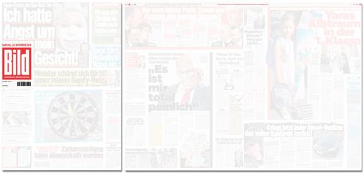 Ausriss Bild-Zeitung - weiße Titelseite, weiße Seiten aus dem Blattinnern