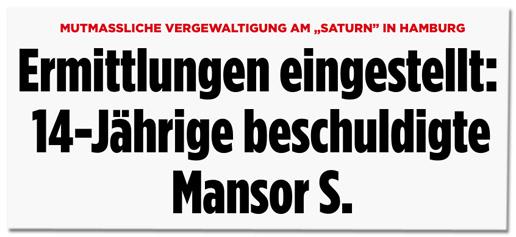 Screenshot Bild.de - Mutmaßliche Vergewaltigung am Saturn in Hamburg - Ermittlungen eingestellt: 14-Jährige beschuldigte Mansor S.