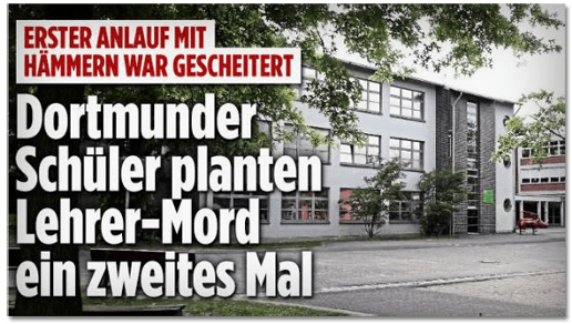 Screenshot Bild.de - Erster Anlauf mit Hämmern war gescheitert - Dortmunder Schüler planten Lehrer-Mord ein zweites Mal