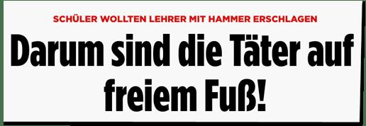 Screenshot Bild.de - Schüler wollten Lehrer mit Hammer erschlagen - Darum sind die Täter auf freiem Fuß!