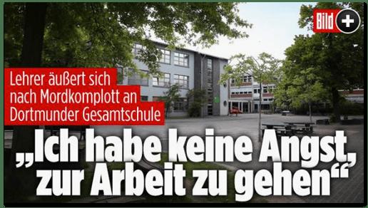 Screenshot Bild.de - Lehrer äußerst sich nach Mordkomplott an Dortmunder Gesamtschule - Ich habe keine Angst, zur Arbeit zu gehen