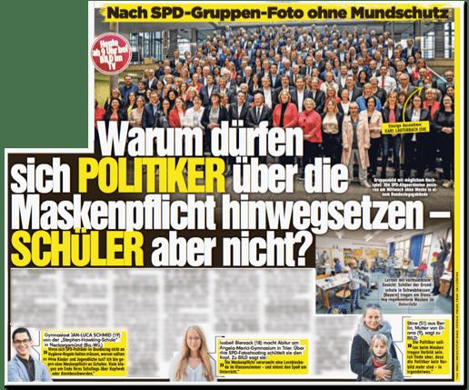 Ausriss Bild-Zeitung - Nach SPD-Gruppen-Foto ohne Mundschutz - Warum dürfen sich Politiker über die Maskenpflicht hinwegsetzen Schüler aber nicht?