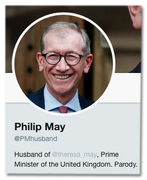 Screenshot des Twitter-Accounts @PMHusband - In der sogenannten Twitter-Biografie steht Husband of @theresa_may, Prime Minister of the United Kingdom. Parody.
