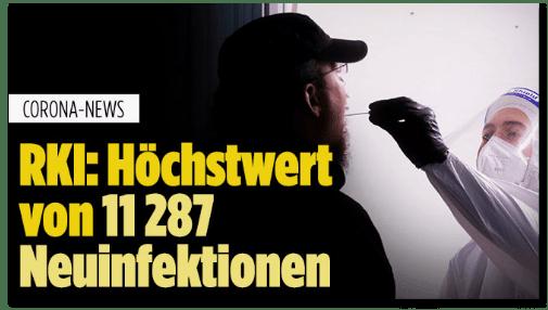 Screenshot Bild.de - Corona-News - RKI: Höchstwert von 11287 Neuinfektionen
