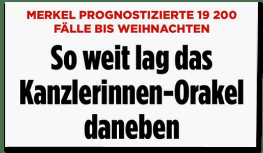 Screenshot Bild.de - Merkel prognostizierte 19200 Fälle bis Weihnachten - So weit lag das Kanzlerinnen-Orakel daneben