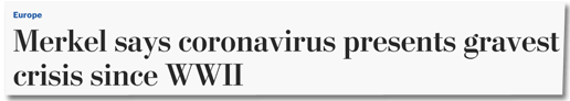 Screenshot Washington Post - Europe - Merkel says coronavirus presents gravest crisis since WWII