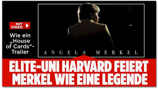 Screenshot Bild.de - Wie ein House-of-Cards-Trailer - Elite-Uni Harvard feiert Merkel wie eine Legende
