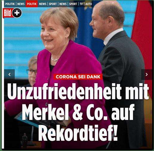 Screenshot Bild.de - Corona sei Dank - Unzufriedenheit mit Merkel & Co auf Rekordtief!