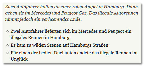 Zwei Autofahrer halten an einer roten Ampel in Hamburg. Dann geben sie im Mercedes und Peugeot Gas. Das illegale Autorennen nimmt jedoch ein verheerendes Ende.  - Zwei Autofahrer lieferten sich im Mercedes und Peugeot ein illegales Rennen in Hamburg - Es kam zu wilden Szenen auf Hamburgs Straßen - Für einen der bedien Duellanten endete das illegale Rennen im Unglück