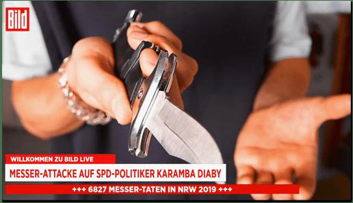 Screenshot Bild.de - Willkommen zu Bild live - Messer-Attacke auf SPD-Politiker Karamba Diaby - 6827 Messer-Taten in NRW 2019