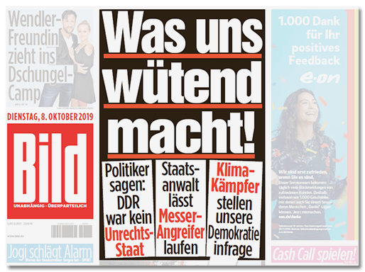 BILD-Titelseite: Was uns wütend macht! - Politiker sagen: DDR war kein Unrechtsstaat - Staatsanwalt lässt Messer-Angreifer laufen - Klima-Kämpfer stellen unsere Demokratie infrage