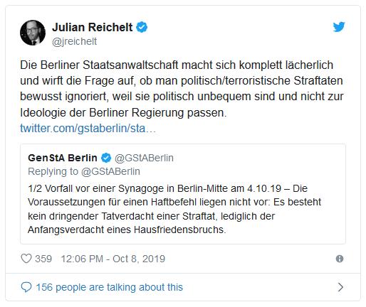 Tweet von Julian Reichelt: Die Berliner Staatsanwaltschaft macht sich komplett lächerlich und wirft die Frage auf, ob man politisch/terroristische Straftaten bewusst ignoriert, weil sie politisch unbequem sind und nicht zur Ideologie der Berliner Regierung passen.