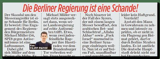 BILD-Ausriss: Die Berliner Regierung ist eine Schande!